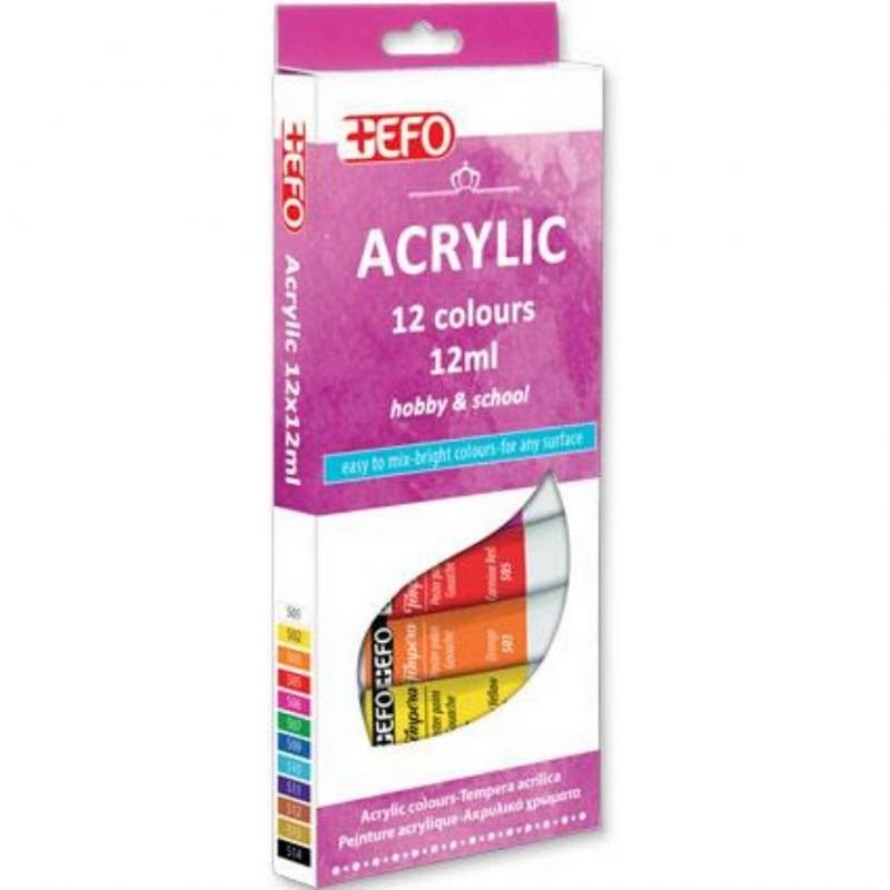 Ακρυλικά Χρώματα +Efo 12 Τεμάχια(12ml)