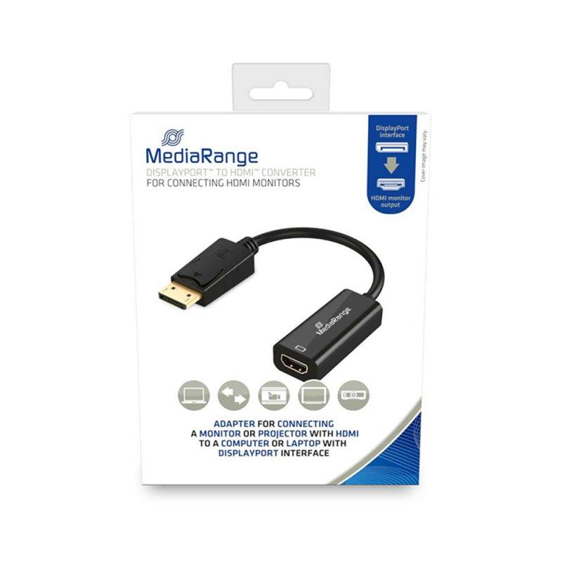 Καλώδιο HDMI High Speed to DisplayPort converter MediaRange Επιχρυσωμένο HDMI socket/DP plug, 10 Gbit/s data transfer rate, 15cm, Μαύρο (MRCS175)