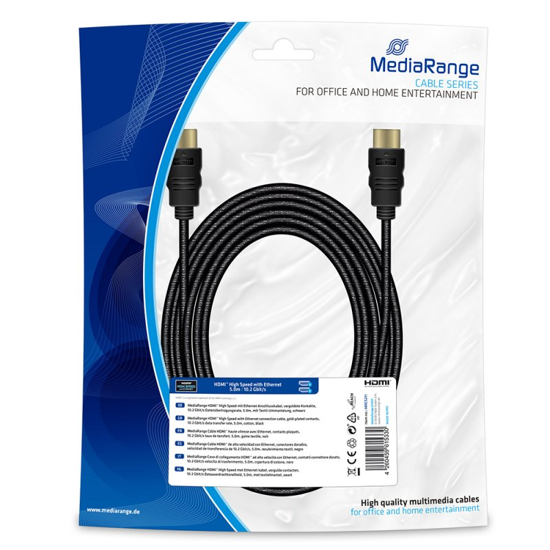 Καλώδιο HDMI MediaRange High Speed connection με Επιχρυσωμένο Ethernet, 10.2 Gbit/s data transfer rate, 5.0m, Βαμβακερό, Μαύρο (MRCS211)