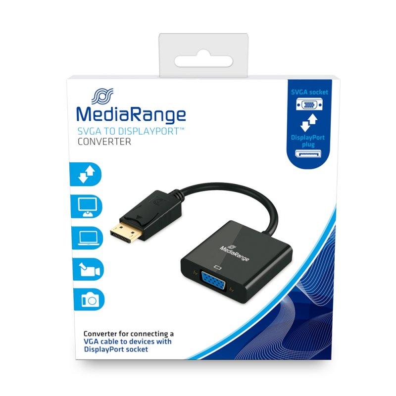 Καλώδιο SVGA to DisplayPort converter MediaRange VGA socket/DP plug, 15cm, Μαύρο (MRCS173)