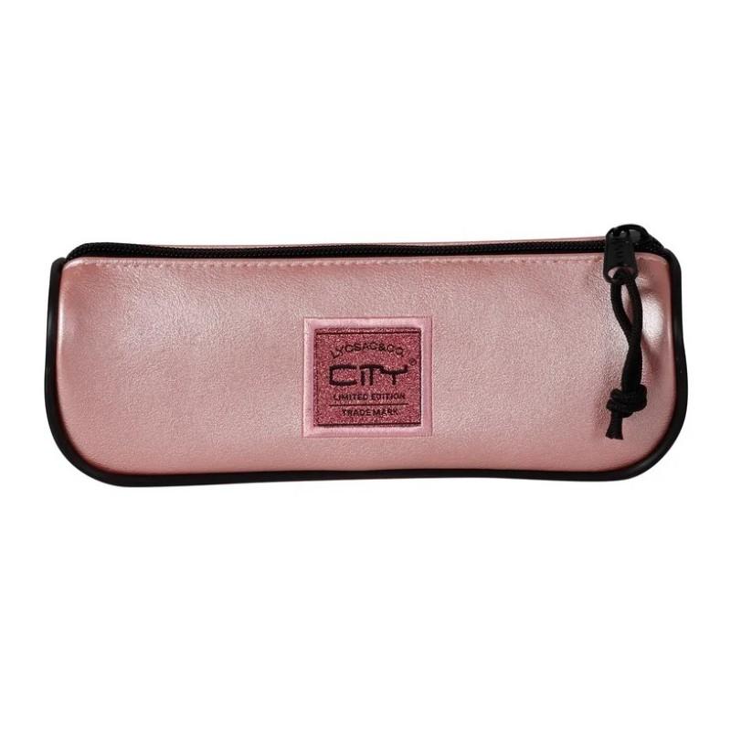 Κασετίνα Βαρελάκι City Leatherlike Ροζ CL17999