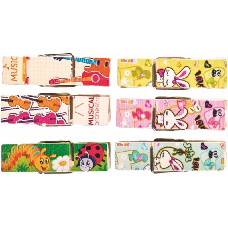 Ξύλινα Μανταλάκια Με Τυπωμένα Σχέδια Junior Art School Σε Διάφορα Χρώματα 6τμχ 137223