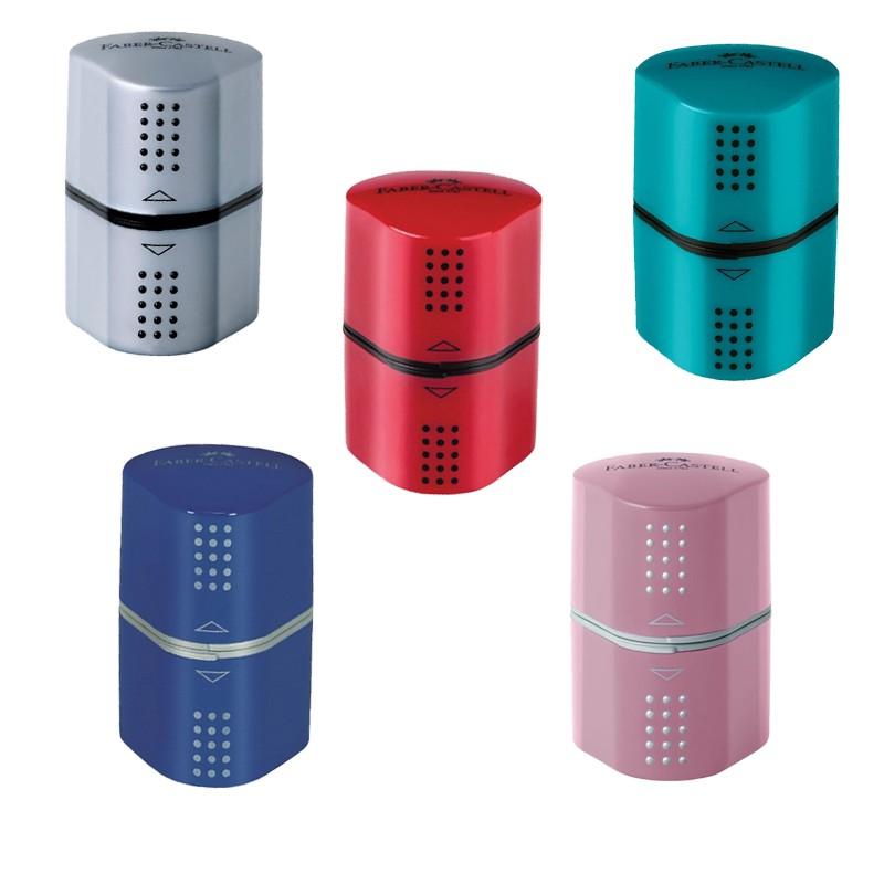 Ξύστρα Faber-Castell Grip Trio Μπλε/ Κόκκινο