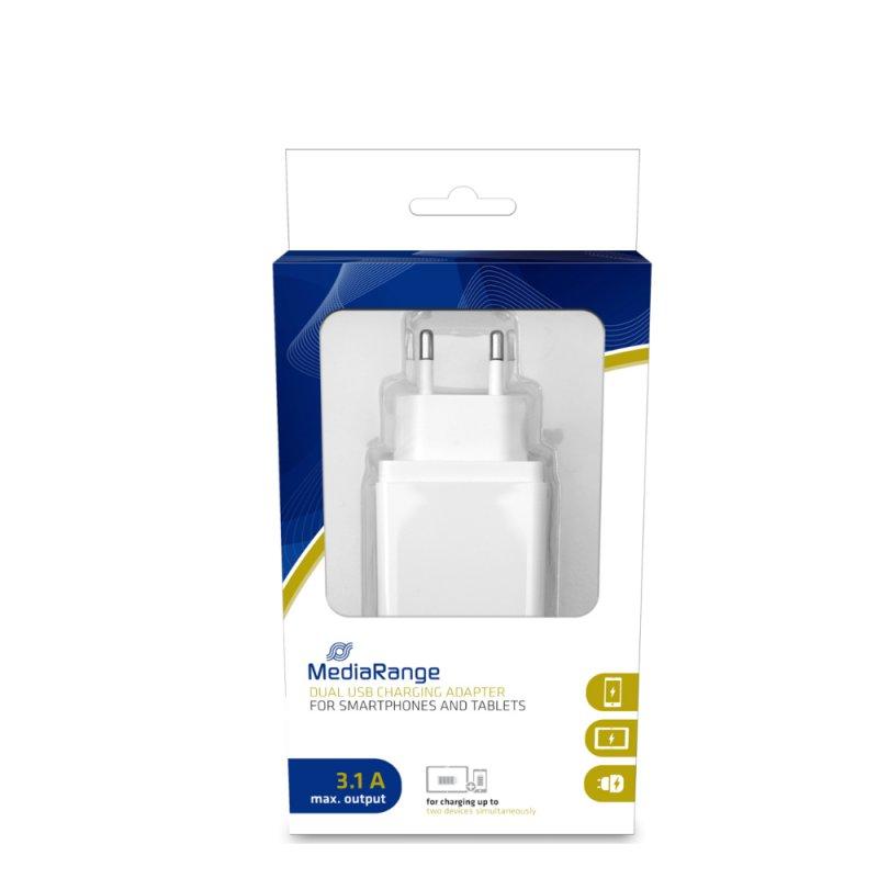 Φορτιστής Τοίχου MediaRange 3.1A Dual USB output (Λευκό) (MRMA104-02)
