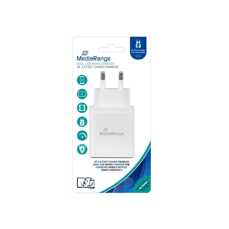 Φορτιστής Τοίχου MediaRange QC 3.0 Dual USB fast charge 18W output power (Λευκό) (MRMA109)