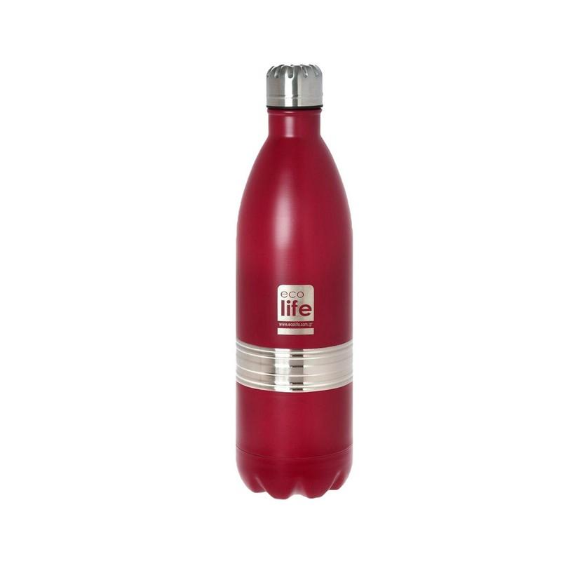 Μεταλλικός θερμός Ecolife Κόκκινο 1Lt