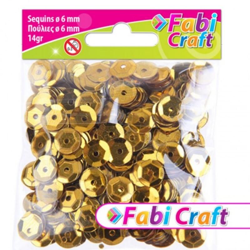 Πούλιες Στρογγυλές Fabi Craft Σε Χρυσό Χρώμα 6mm 130311