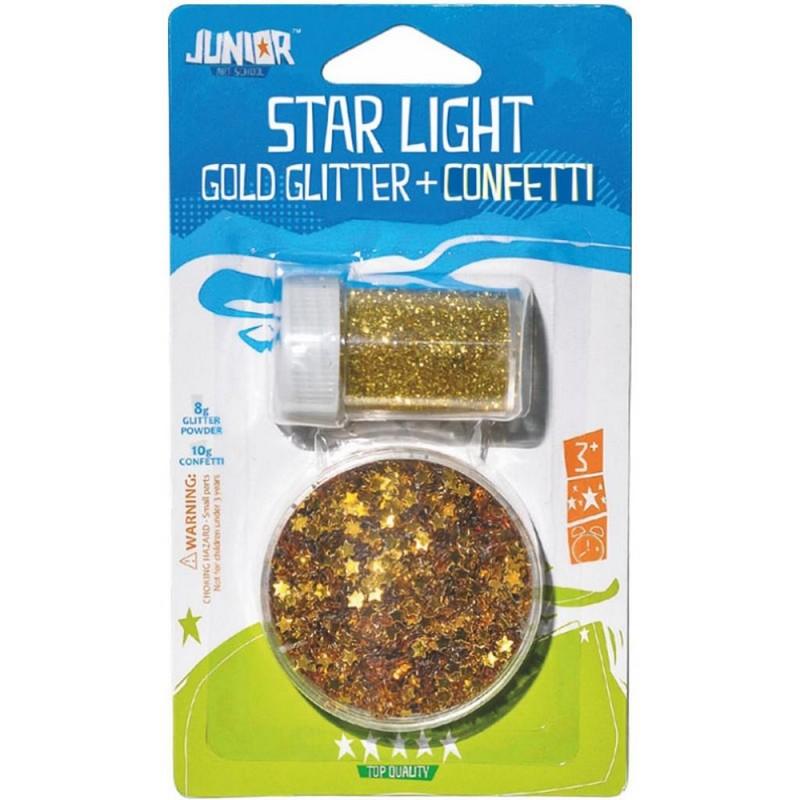 Σετ Glitter&Αστερόσκονη Junior Art School Σε Χρυσό 137890