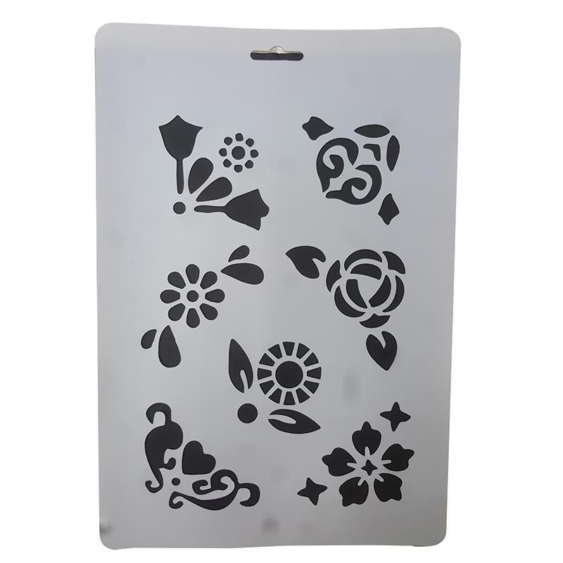 Stencil Πλαστικό Next Με Σχέδιο Λουλούδια Α4 27754 (7τμχ)