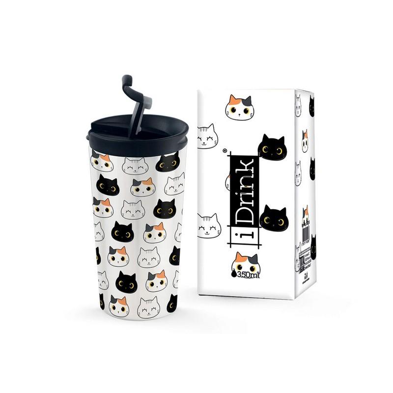 Θερμός Μεταλλικός Ταξιδιού iDrink Γάτες 350ml