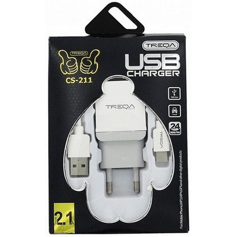 Φορτιστής Κινητού Λευκός Treqa Lightning Cable & USB (CS-211)