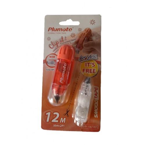 Διορθωτική Ταινία Plumote Correction Tape Oval QCR-506 Πορτοκαλί 12m