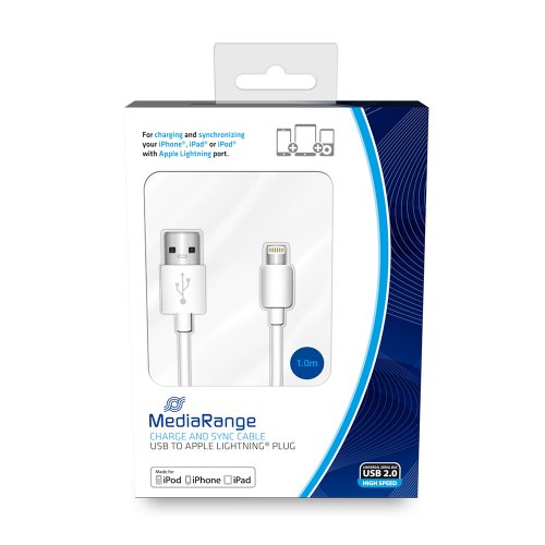 Καλώδιο MediaRange Charge and sync, USB 2.0 to Apple Lightning® plug, 1.0m, Λευκό (MRCS178)