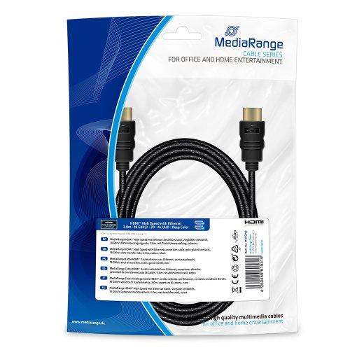 Καλώδιο HDMI MediaRange High Speed connection με Επιχρυσωμένο Ethernet, 18 Gbit/s data transfer rate, 3.0m, Βαμβακερό, Μαύρο (MRCS198)