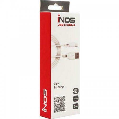 Καλώδιο USB 2.0 Ιnos USB A σε USB C 2m Λευκό