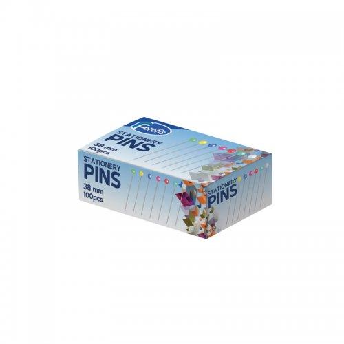 Καρφίτσες Forofis Sationery Pens 38mm Χρωματιστές Κεφαλές 100 τεμ.