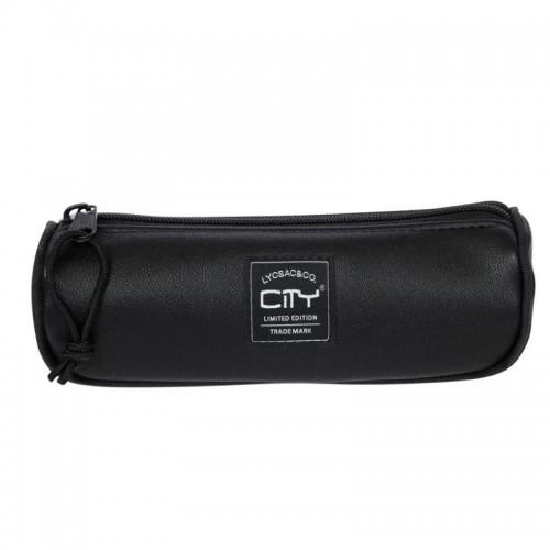 Κασετίνα Βαρελάκι City Leatherlike Μαύρο CL18099