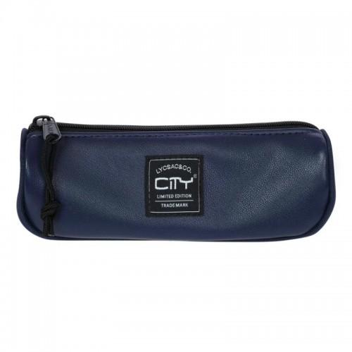 Κασετίνα Βαρελάκι City Leatherlike Μπλε CL29599 - 1