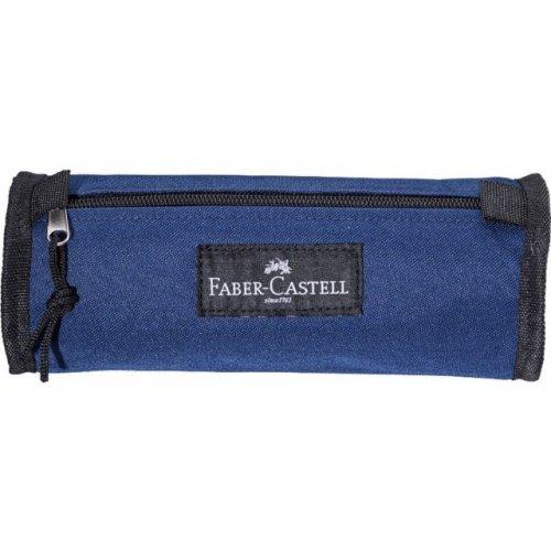 Κασετίνα Βαρελάκι Faber-Castell Pencil Pouch College Υφασμάτινη Μπλε