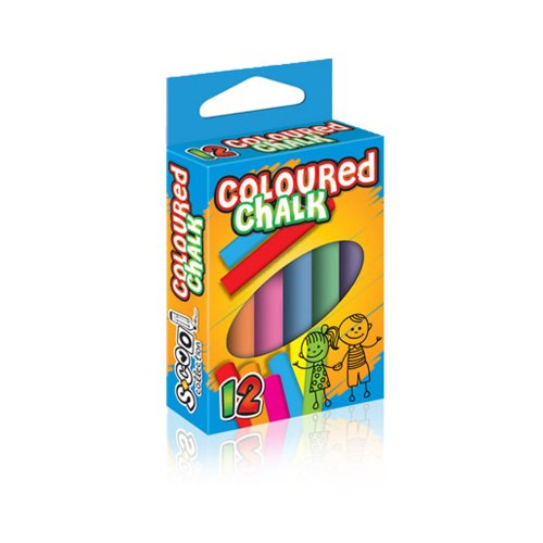 Κιμωλίες SCOOL collection Χρωματιστές 12τμχ - 1