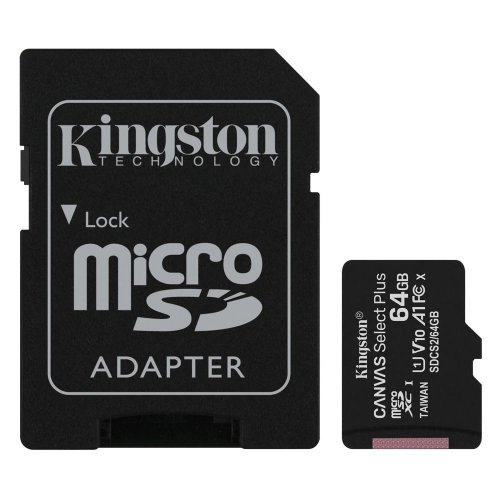 Κάρτα Μνήμης Kingston Micro Secure Digital 64GB microSDXC Canvas Select Plus 80R CL10 UHS-I Card + SD Adapter (SDCS264GB) (KINSDCS2/64GB)