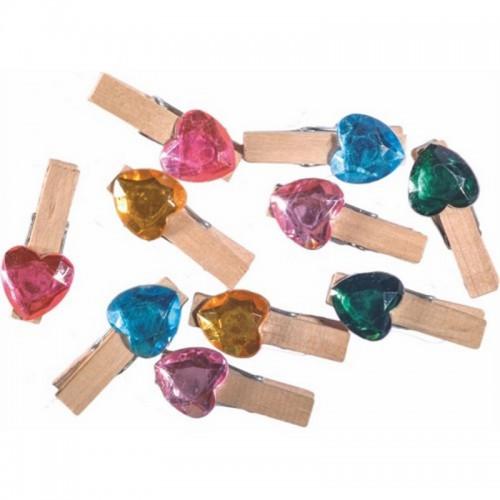Ξύλινα Μανταλάκια Με Σχήμα Καρδιά Junior Art School Σε Διάφορα Χρώματα 10τμχ 137225 - 1