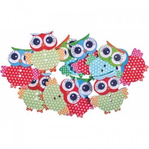 Ξύλινες Κουκουβάγιες Junior Art School Σε Διάφορα Χρώματα 10τμχ 137216 - 1