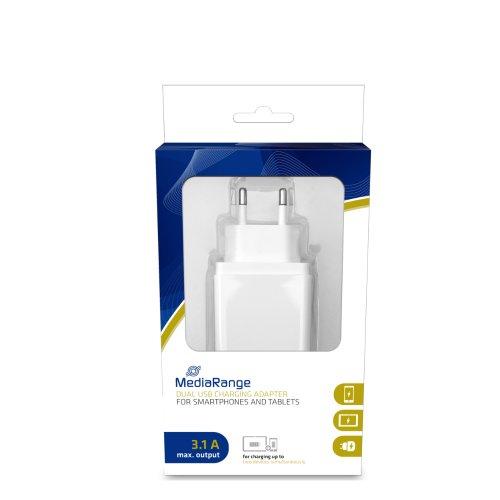 Φορτιστής Τοίχου MediaRange 3.1A Dual USB output (Λευκό) (MRMA104-02) - 1