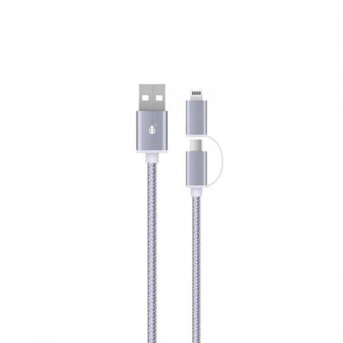 Καλώδιο Φόρτισης AU405 PL Data Cable 2 in 1 for Micro USB + Lightning, 2A 1M, Ασημί - 2