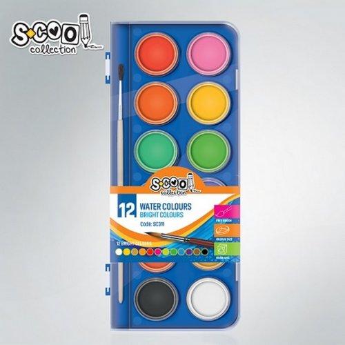 Νεροοχρώματα S-Cool 12 ΧΡΩΜΑΤΩΝ 28mm + Πινέλο